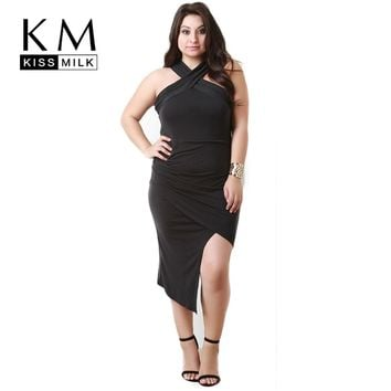 Kissmilk Plus Size Women Clothing Casual Solid Cross Front Dress Tied Asymmetrical Hem Dress Big Size Sexy Dress 4XL 5XL 6XL
