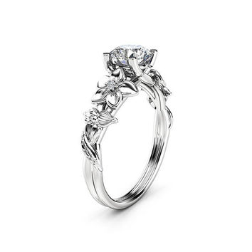 Flower Diamond Engagement Ring 14K White Gold Floral Ring Conflict Free Diamond