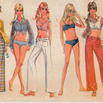 """1960's Misses Bikini Hip Hugger Bell Bottoms Blouse Top McCall's 9704 Vintage Sewing Pattern Bust 34"""""""