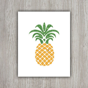 Pineapple Print, Tropical Decor, Emerald Green Summer Printable Fruit Art, Pineapple Decor, Fruit Print, Summer Wall Art, Tropical Art