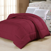 King Size Luxury Comforter in Burgundy Red Microfiber