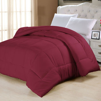 Twin Size Down Alternative Comforter in Burgundy Red - Machine Washable