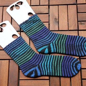 Handknit striped socks size EU 42-44, US men 9.5-11.5, handknit in blue, black and purple, gift for him or her, wool socks, boot socks