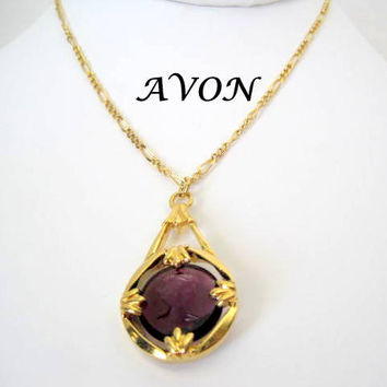 Avon Vintage Amethyst Glass Cameo Pendant Necklace
