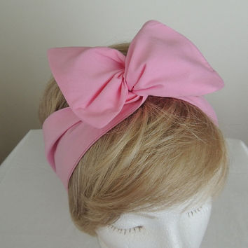 Pink Wire Headband, Twist Scarf, Bandana, Pink Head Band, Twist Head Band,  Hat Band, Head Wrap, Dolly Bow, Hair Tie,  Hair Band, Retro