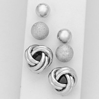Silver 3 Piece Knot Earring Set