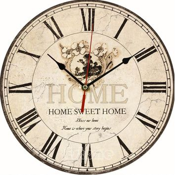 FarenHot Special Series, Large Vintage Flower Wooden Wall Clock. Kitchen Antique Shabby Chic Retro Home