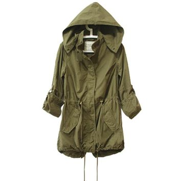 Women Winter Army Green Military Parka Trench Hooded Coat Warm Jacket