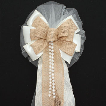 Ivory Burlap Lace Pearls Rustic Wedding Bows