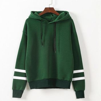 Women's Green with White Striped Long Sleeve Hoodies Sweatshirts Top
