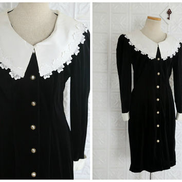 Black Velvet Wednesday Addams Style Button Up Dress with Satin & Lace Statement Collar