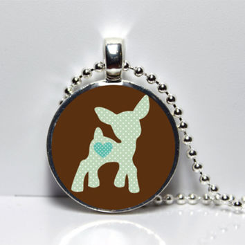 Brown with teal Deer Woodland Creature Tile Pendant Necklace SALE