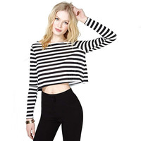 Striped T Shirt Women Cropped Tops For Women Crop Top Long Sleeve Autumn Plus Size Clothes Poleras Womens Tops Fashion 2015 = 5613055809