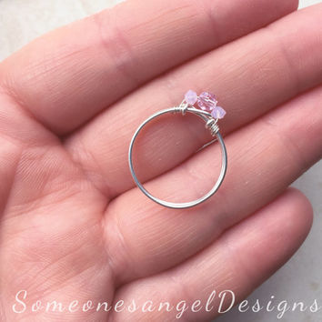 Promise Ring, Engagement Ring, Pink Ring, Pinky Ring, Bridal Ring, Wedding Ring, Sterling Silver Ring, Diamond Ring, Statement Ring,