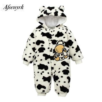 Flannel Baby Clothes Thick Warm Newborn Underwear Out Jacket 0-1 Year Old Autumn Winter Hooded Jersey Cartoon Cow Hooded Outwear