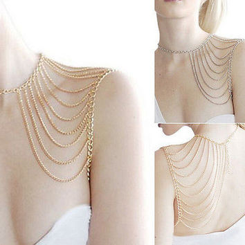 Beauty Punk Link Body One Shoulder Chain Hot Sexy Multi Tassel Chain Necklace HU