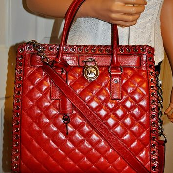 Michael Kors Hippie Grommet Hamilton Large Leather N/S Tote Bag Purse Red NWT