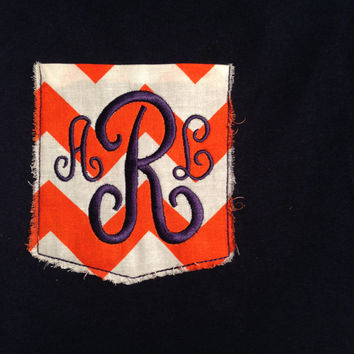 Monogrammed Frayed Chevron Pocket Tee by CheeksLittleBoutique