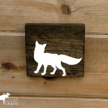 Wood Fox Wall Art - 6x6 pine,rustic nursery,rustic decor,stained wood, woodland, forest,kids room,cottage chic, babyshower gift,cabin decor