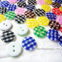 Lot of 48 gingham checkered pattern buttons for sewing, scrapbooking, purse diy, cardholder diy, bouton id1360617, sewing, craft supply