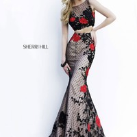 Sherri Hill 11246 Floral Lace Mermaid Gown