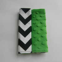 Chevron & Green Minky Reversible Car Seat Strap Covers