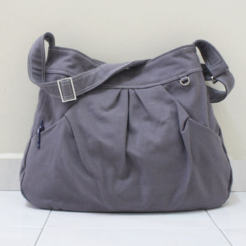Valentine Sale - Gray Canvas Women Single Strap, shoulder bag, Cross body Sling bag, Handbag - Pleated Hoodie Market Bag
