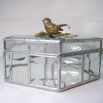 Vintage Large Hexagon Beveled Glass & Mirror Jewelry Box