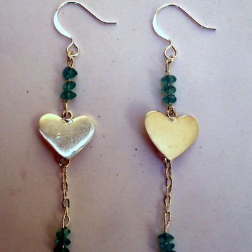 Sterling heart earrings with silver chain and appatite beads on sterling ear wires.