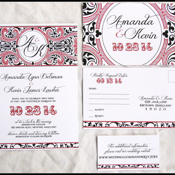 Romantic Carnival Wedding Invitation Set by RunkPock Designs : Victorian Damask Monogram Script Invitation Suite shown in dark red and black