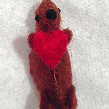Tiny Valentine Otter - miniature otter with a heart - tiny otter felted otter otter collectibles stuffed otter plush otter mini otter