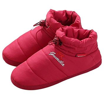 JOINFREE Mens Womens Indoor Slippers Boot Winter Bedroom Shoes Feather Cloth Vamp