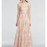 Strapless Glitter Tulle Beaded Waist Prom Dress - Davids Bridal
