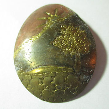 Vintage Brass Copper Handcrafted Pin 1970s Scene Sun Tree Etched Artsy