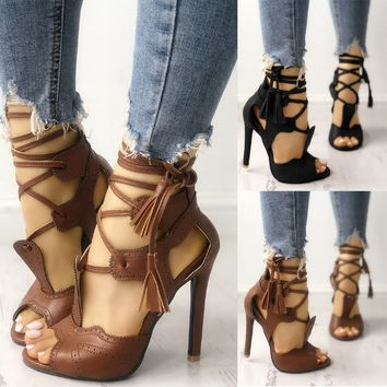 Gladiator Bandage High Heel Boot Shoes Open Toes Lace Up Ankle Strap Sandals