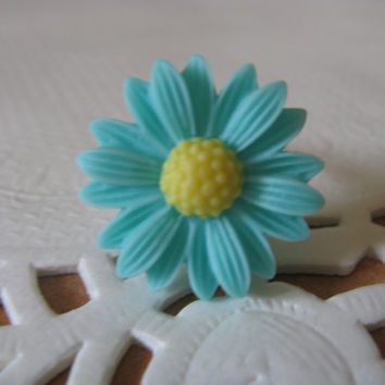Turquoise sunflower rin,sun flower ring,Turquoise ring