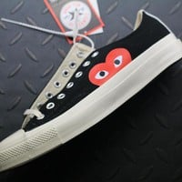 Converse Cdg Play Addict Fashion Canvas Flats Sneakers Black