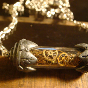 Watch Parts in Antique Silver Woodland Vial  Steampunk Necklace Victorian Style Steampunk Fashion (1239)