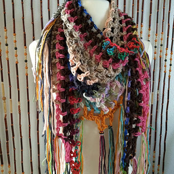 FREE SHIPPING - Crochet Triangle Steps Scarf - Multi, Rainbow, Peach, Gray, Gold, Brown, Tan, Green, Blue, Purple, Pink