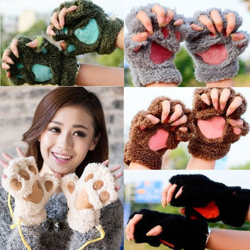 Womens Lovely Cat Claw Paw Plush Glove Gift = 1929549060