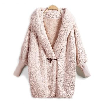 Hooded Autumn Winter Pink Long Sleeve Single Button Knee Length Coat