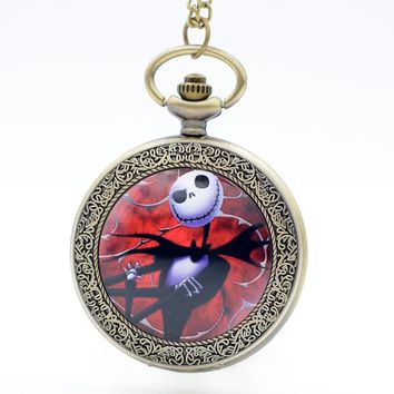 The Nightmare Before Christmas Jack Skellington Red Quartz Pocket Watch Analog Pendant Necklace Men Women Watches Chain Gift