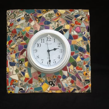 Mosaic Clock Wall Decor OOAK Home Decor Flowers, Heart, Handmade