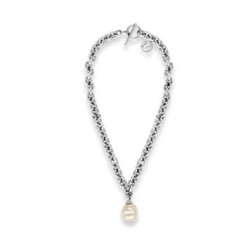 Majorica Stainless Steel 18mm Simulated Baroque Pearl 16-Inch Chain Drop Necklace