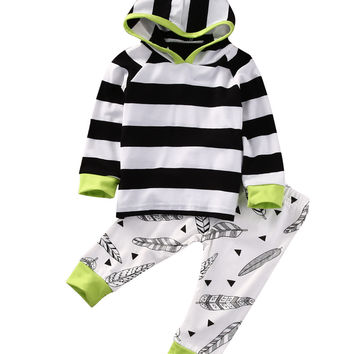 2pcs Newborn Toddler Kids Baby Boys Girls Clothes Outfits Long Sleeve Striped T-shirt Hooded Tops+Leaf Pants Set