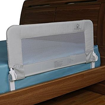 Toddler Bed Rail Guard for Convertible Crib, Kids Twin, Double, Full Size Queen & King (Grey-Regular)