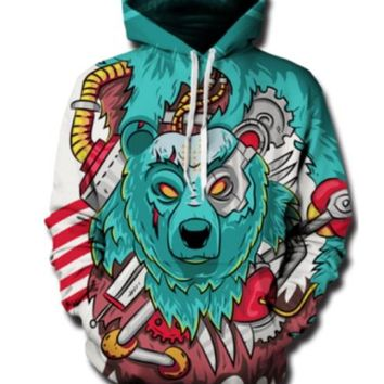 Cloudstyle 3D Hoodies Men Long Sleeve Crewneck Front Pocket Hooded Pullover Machine Bear Funny Print Tops Popular Design