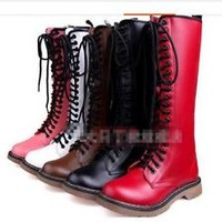 New Women's Knee High Boots Lace Up Combat Military Motorcycle Ghic Punk Shoes