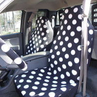 1 Set of Black and White Dots Print Custom Made Car Seat Covers and 1 pic Steering Wheel Cover,