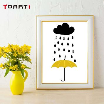 Rain Cloud Weather Yellow Umbrella Wall Art Painting Nordic Canvas Posters And Prints For Kids Living Home Decoration No Frame